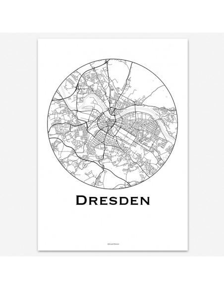 Affiche Poster Dresde Allemagne Minimalist Map