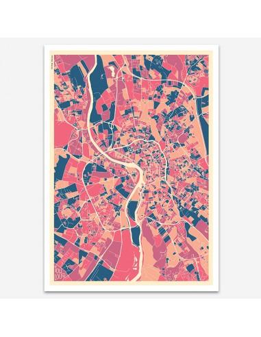Affiche Poster Toulouse France Multicolor Map