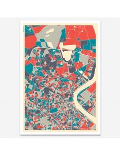 Affiche Poster Bordeaux France Multicolor Map