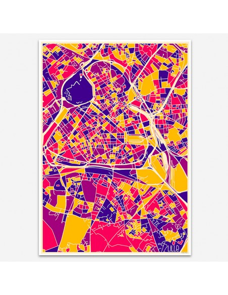 Affiche Poster Lille France Multicolor Map
