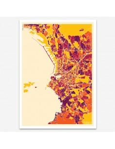Affiche Poster Marseille France Multicolor Map