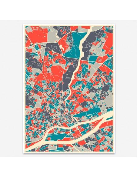 Affiche Poster Nantes France Multicolor Map