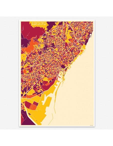 Affiche Poster Barcelone Espagne Multicolor Map