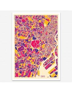 Poster Tokyo Japan Multicolor Map