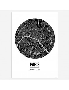 Poster Paris France Street Map