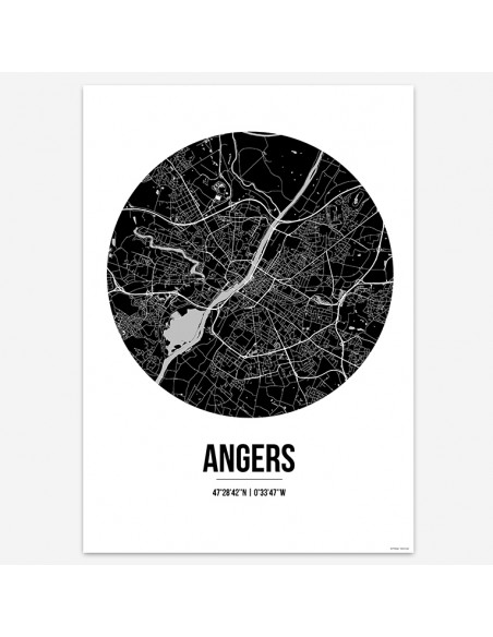 Affiche Poster Angers France Street Map