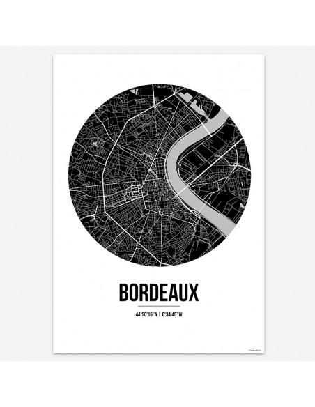 Affiche Poster Bordeaux France Street Map