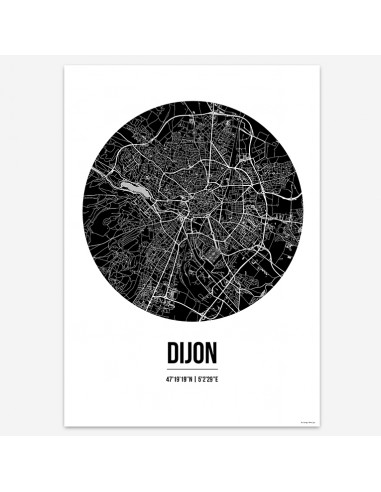 Affiche Poster Dijon France Street Map
