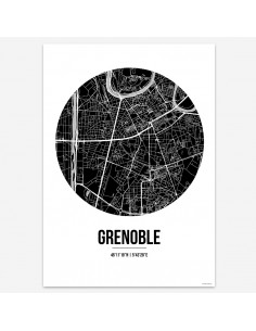 Poster Grenoble France Street Map