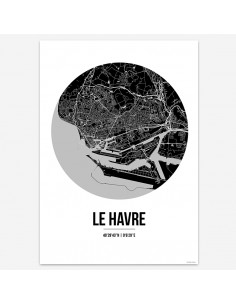 Poster Le Havre France Street Map