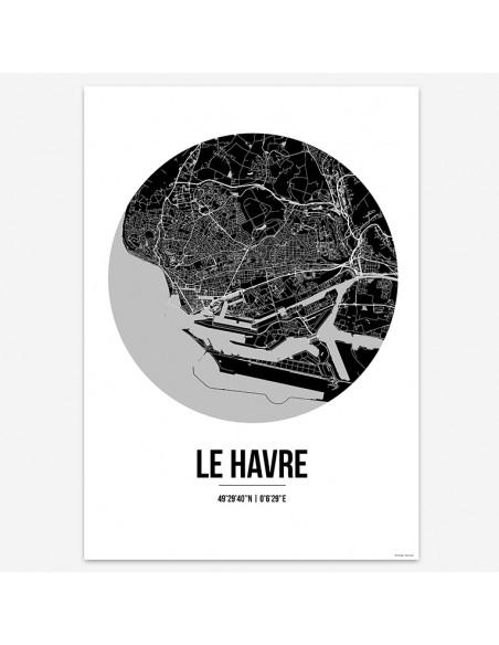 Affiche Poster Le Havre France Street Map