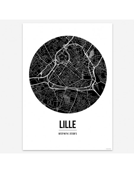 Affiche Poster Lille France Street Map