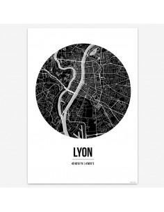 Poster Lyon France Street Map