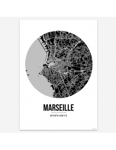 Affiche Poster Marseille France Street Map