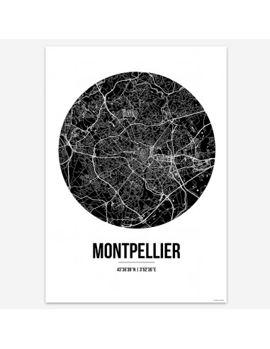 Affiche Poster Montpellier France Street Map