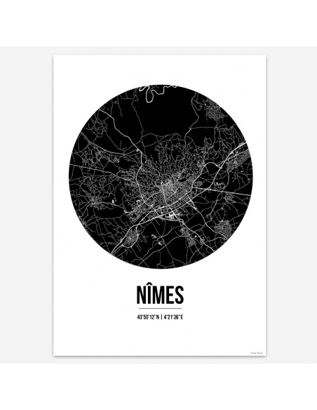 Affiche Poster Nîmes France Street Map