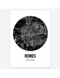 Affiche Poster Rennes France Street Map