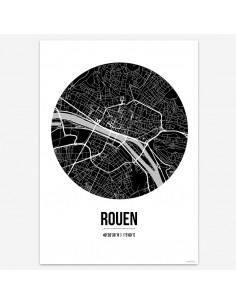 Affiche Poster Rouen France Street Map