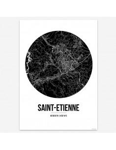 Affiche Poster Saint Etienne France Street Map