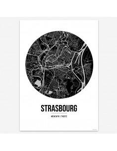 Affiche Poster Strasbourg France Street Map