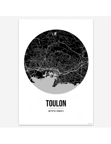 Affiche Poster Toulon France Street Map