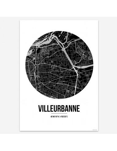 Affiche Poster Villeurbanne France Street Map