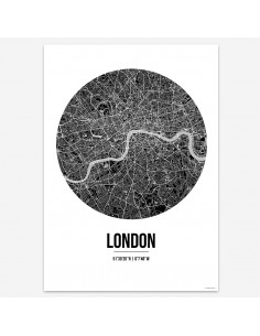 Affiche Poster Londres Angleterre Street Map
