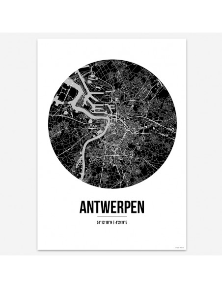 Affiche Poster Anvers Belgique Street Map