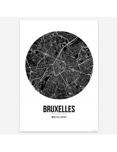 Affiche Poster Bruxelles Belgique Street Map