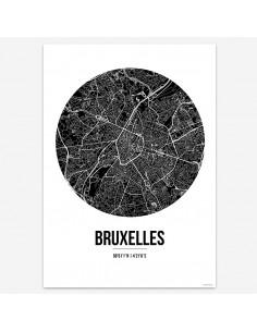 Poster Bruxelles Belgium Street Map