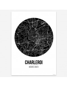 Affiche Poster Charleroi Belgique Street Map