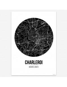 Poster Charleroi Belgium Street Map