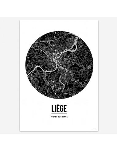 Affiche Poster Liège Belgique Street Map