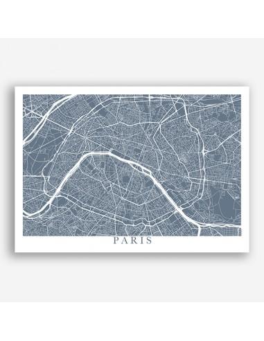 Affiche Poster Paris Unicolor Map