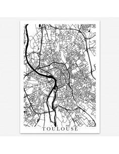 Affiche Poster Toulouse Unicolor Map