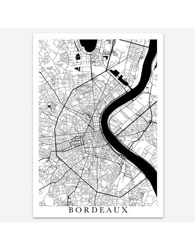 Affiche Poster Bordeaux Unicolor Map