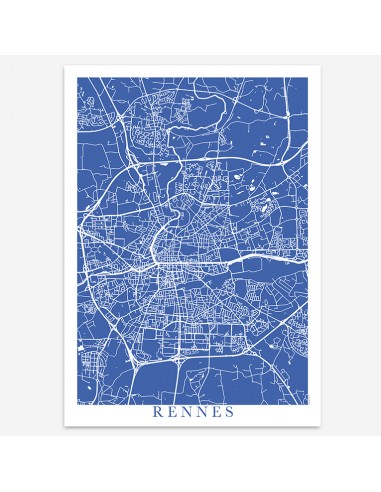 Affiche Poster Rennes France Unicolor Map