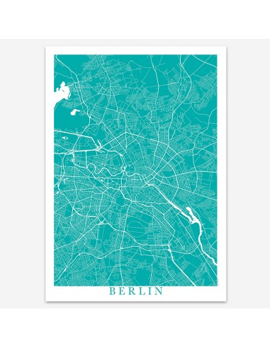 Affiche Poster Berlin Allemagne Unicolor Map
