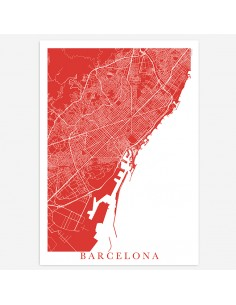 Affiche Poster Barcelone Espagne Unicolor Map