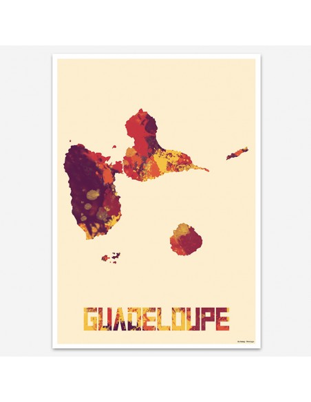 Affiche Guadeloupe Style Aquarelle