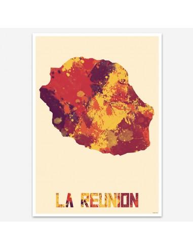 Affiche La Réunion Style Aquarelle