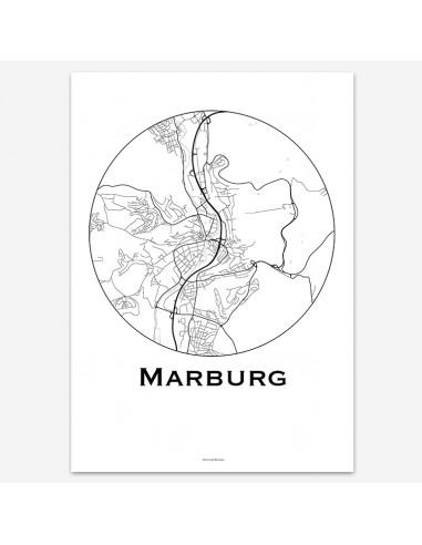 Affiche Poster Marburg Allemagne Minimalist Map