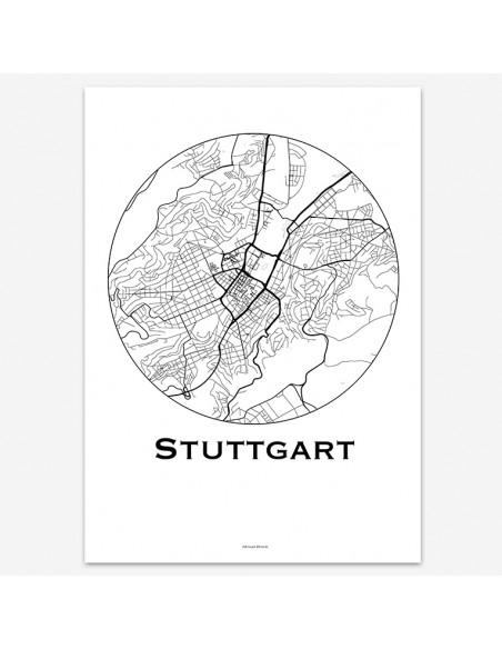 Affiche Poster Stuttgart Allemagne Minimalist Map