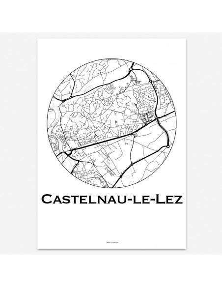 Affiche Poster Castelnau-le-Lez France Minimalist Map
