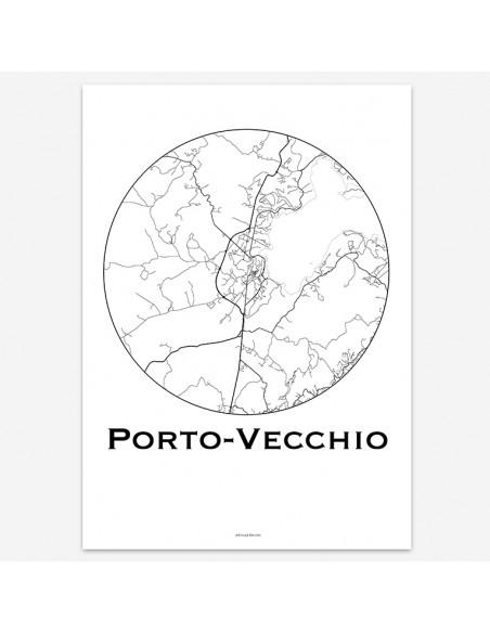 Affiche Poster Porto Vecchio Corse Minimalist Map