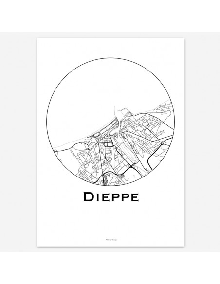 Affiche Poster Dieppe France Minimalist Map
