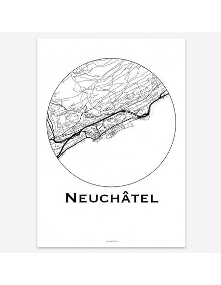 Affiche Poster Neuchâtel Suisse Minimalist Map