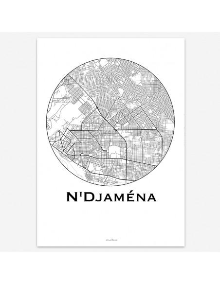 Affiche Poster N'Djaména Tchad Minimalist Map