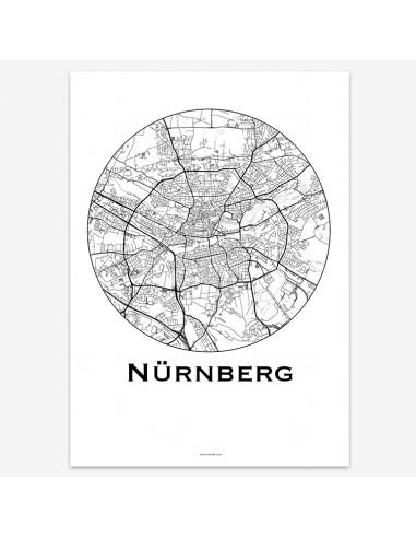 Affiche Poster Nuremberg Allemagne Minimalist Map
