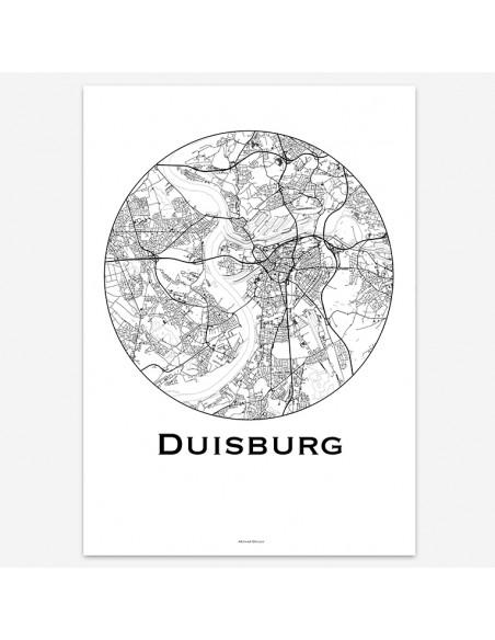 Affiche Poster Duisbourg Allemagne Minimalist Map